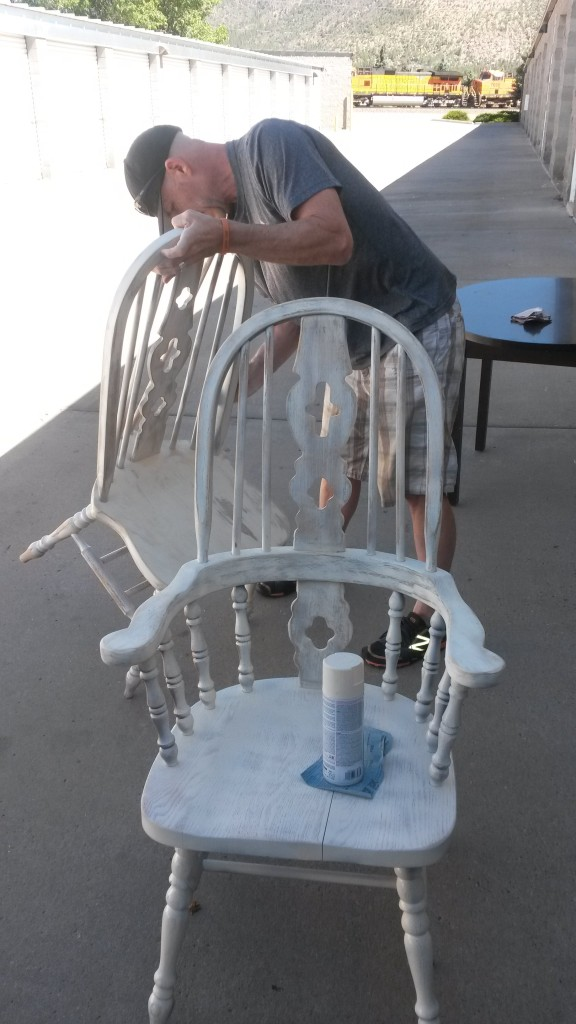 After the paint dries, it's time to sand down the shabby-spots.